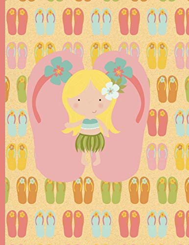 Multipurpose Wide Ruled Paper Notebook - Composition - Journal - Diary: Little Girl Aloha Luau Dancing Flip Flops Thongs Notebook - 8.5