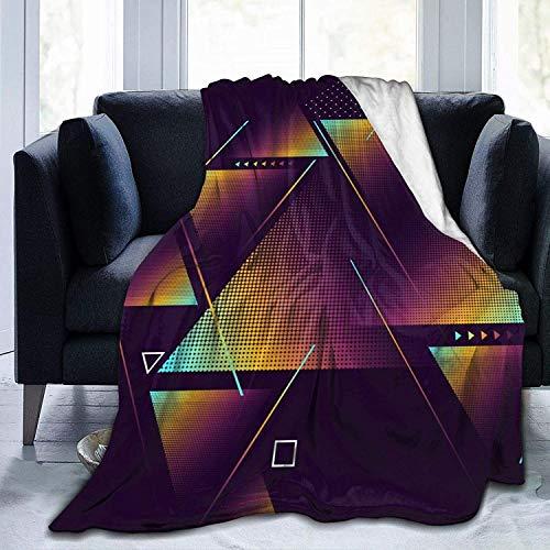 Manta de Tiro Triángulos de Colores Oscuros Manta de Microfibra Ultra Suave Manta de Cama súper Suave y acogedora para Cama Sofá Sofá Sala de Estar Pi