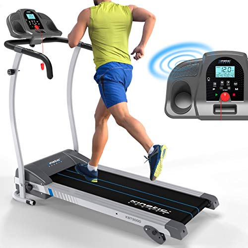 Kinetic Sports KST3000 Laufband |1100 Watt Motorleistung | 12 Trainingsprogramme für GEH- u. Lauftraining | integrierte Lautsprecher | stufenlos einstellbar bis 12 km/h | klappbar