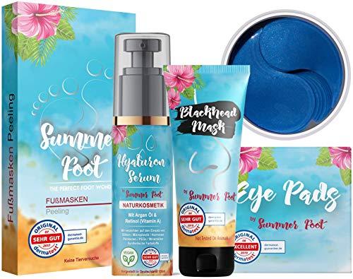 Summer Foot Premium Frauen Set I Beinhaltet Fußmaske für Frauen, Black Head Maske, Hyaluron Serum und Augenpads I Geschenkset Frauen