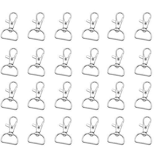 24 Pezzi Fibbie Metallo,Metallo Keychain Bulk, Anello D Girevole Moschettoni per Fissaggio, Tracolla, Zaino Accessori Fai da te Argento