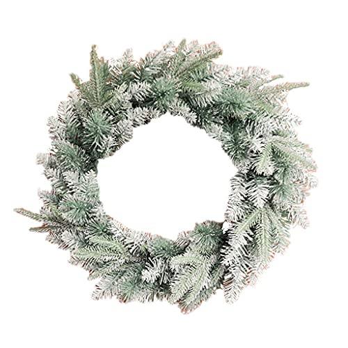 NICETOW Coroa de Natal Artificial, floco de Neve em PVC ecologicamente correto, guirlanda de Cena Festiva, decoração, enfeite de Natal 50cm