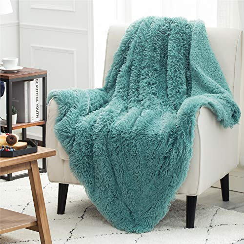 Bedsure Faux Fur Reversible Sherpa Throw Blanket for Sofa, Couch and Bed(Aqua, Turquoise - Super Soft Fuzzy Fleece Blanket for Outdoor, Indoor, Camping, Gifts (108x90 inches, Teal)