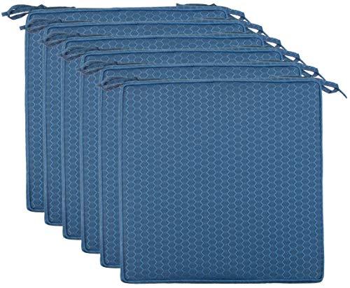 Brandsseller Outdoor Garten Sitzkissen Auflagen Kissen mit Paspel - Waben-Optik - Schmutz- und Wasserabweisend mit Befestigungsbändern - 40 x 40 x 4 cm - 6er Vorteilspack - Blau