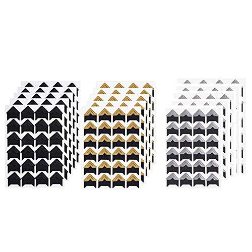 MUXItrade 360 pcs Feuilles Coins de Photo Autocollant Coin de Papier Autocollants Autocollant de Montage Photo pour Scrapbooking Album Quotidien, Noir et Or - 15 Pack