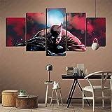 wodclockyui 5 Piezas Cuadro de Lienzo- Batman y Superman Pintura 5 Impresiones de imágenes Decoración de Pared para el hogar Pinturas y Carteles de Arte HD 200cmx100cm sin Marco