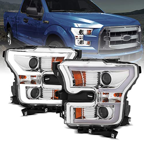 AmeriLite Black Dual Intense LED Bar Stripe Dual Projector Headlights Pair for 2015 2016 2017 Ford F150 F-150