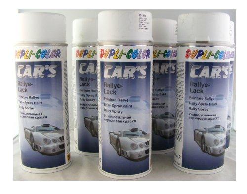 Dupli Color 651953Car 's Rallye barniz de color blanco mate 6latas de aerosol de 400ml.