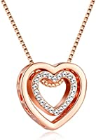 murtoo Heart Necklace for Women Rose Gold Silver Double Heart Pendant Necklace with Crystals Decorated I Love U Engraved...
