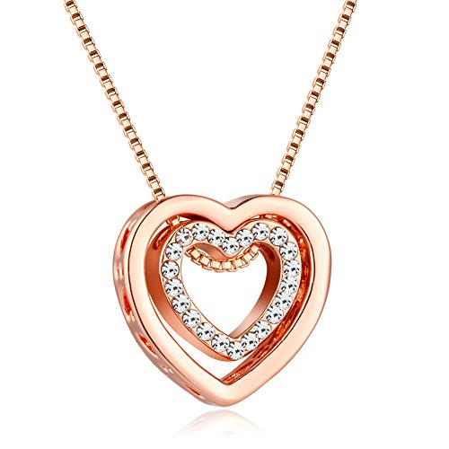 murtoo Heart Necklace for Women Rose Gold Silver Double Heart Pendant Necklace with Crystals Decorated I Love You Engraved Gift Box (Rose Gold)