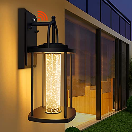 Dusk to Dawn Outdoor Wall Light, Waterproof Outdoor Wall Sconce with Crystal Bubble Glass, Outdoor Porch Lights for House/Garage/Garden, 10W, 3000K Warm White