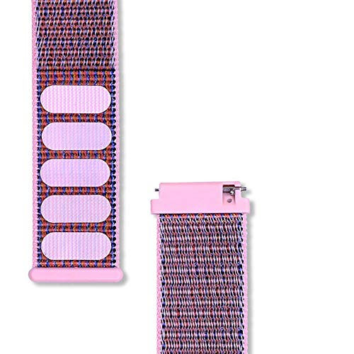 DLCYMY Correa de reloj de tela para mujer, 22 mm, correa de nailon para reloj Huawei GT (color de la correa: rosa, ancho de la correa: 22 mm)