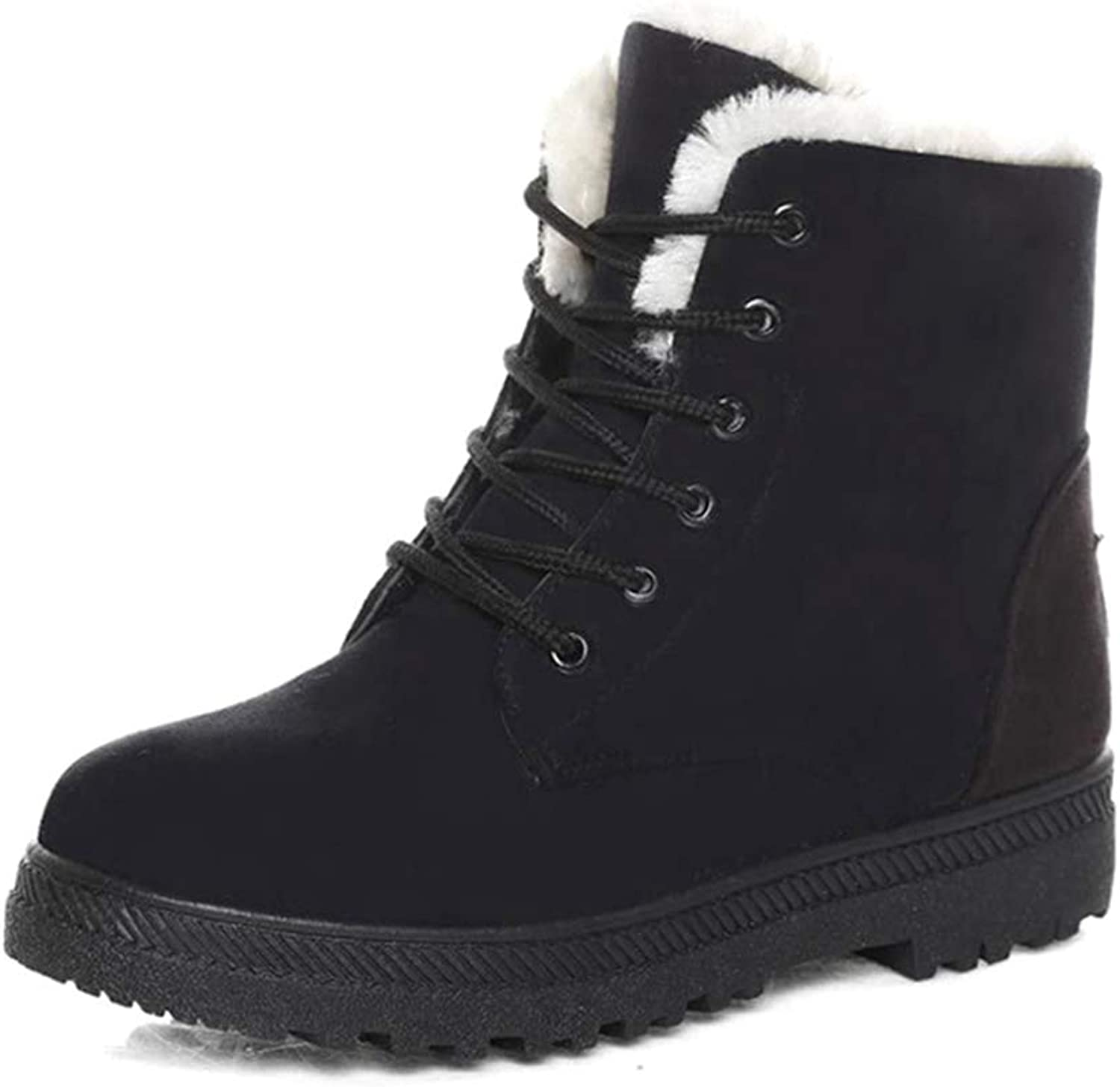 Zarbrina Women's Platform Lace Up Snow Ankle Boots Fashion Short Plush Suede Winter Fur Lined Round Toe Comfy Boots Casual Soft Sole Warm shoes