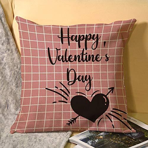 Fundas de almohada de lino decorativas para el hogar, 45,72 x 45,72 cm, fundas de almohada cuadradas para el día de San Valentín, color granate