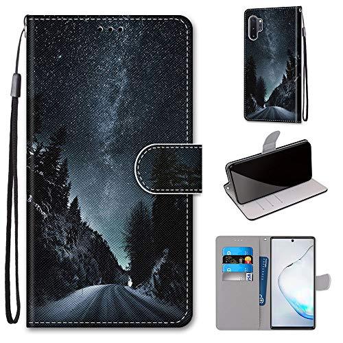 Miagon Flip PU Leder Schutzhülle für Samsung Galaxy Note 10 Plus,Bunt Muster Hülle Brieftasche Case Cover Ständer mit Kartenfächer Trageschlaufe,Nacht Straße