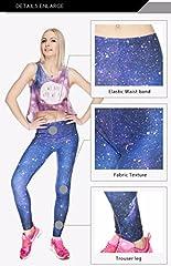 Kukubird Printed Patterns Women's Yoga Leggings Gym Fitness Running Pilates Tights Skinny Pants 8 to 12 Stretchable - Galaxy #4