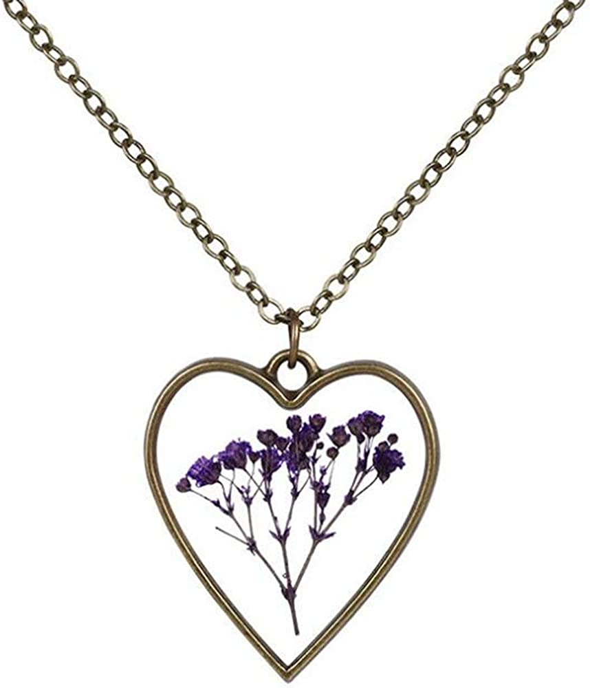 Jude Jewelers Retro Vintage Clear Acryic Embedded Dry Flower Heart Shapped Statement Pendant Necklace