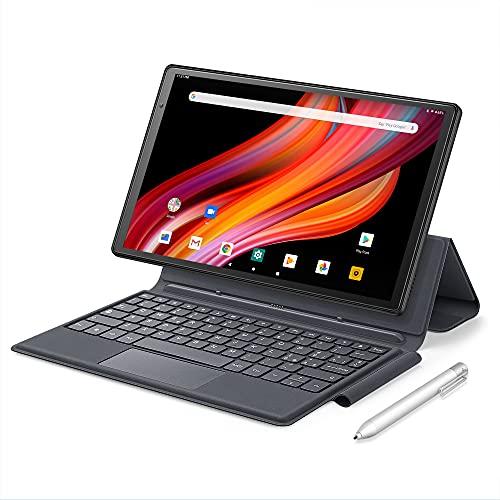 Tableta de 10 pulgadas con Octa-Core 4 + 64 GB, Android 10 Tablet con 4G LTE + WiFi SIM, Dual Speaker, teclado y bolígrafo, Tablet PC con 5 + 13 MP 1080P FHD Cámaras