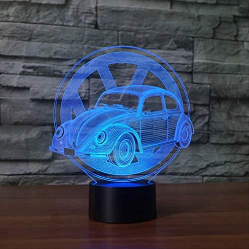 Luz nocturna 3D, 7 colores, cambio creativo, regalo, mariquita, coche, modelado, 3D, lámpara de mesa, USB, botón táctil, coche, luz nocturna, para niños, dormitorio, decoración