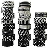 22 rotoli di nastro adesivo Washi, colore bianco e nero, per decorazioni fai da te, per sc...