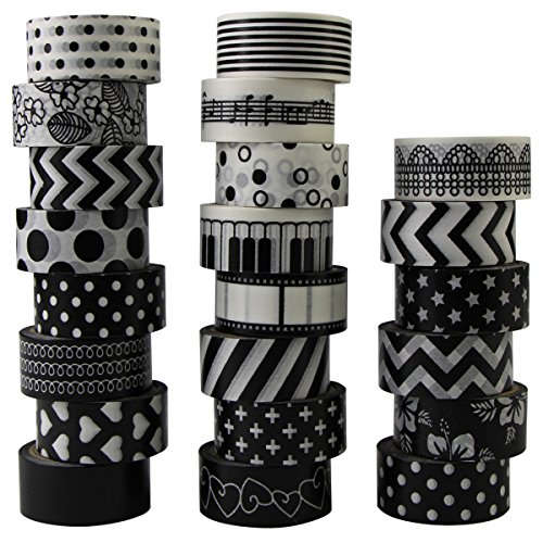 Washi Tape - Cinta adhesiva decorativa (22 rollos), color blanco y negro, para manualidades, decoración, álbum de recortes