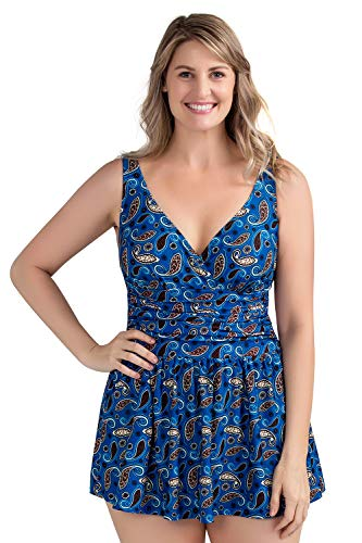 Perona Women Plus Size Swimwear One Piece Swimdress Tummy Control Swimsuit Printed Skirt Bathing Suits (US 16(Read The Size Chart in Our Image), Ocean)