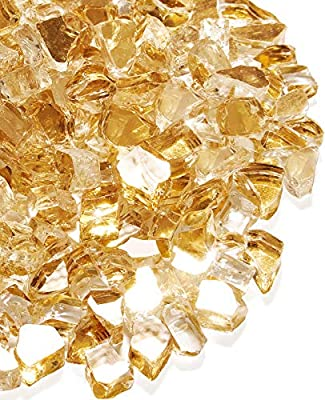 NUPICK 20 Pound Fire Glass for Fire Pit, 1/2 Inch Tempered Reflective Fire Glass for Propane Fire Pit & Gas Fireplace, Gold Fire Glass Rock