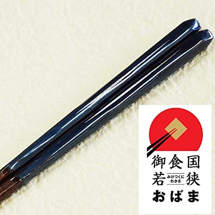 ぼんやりした荒廃する凍った高級 若狭塗箸 塗り箸 箸単品 (田園23.0(ブルー))