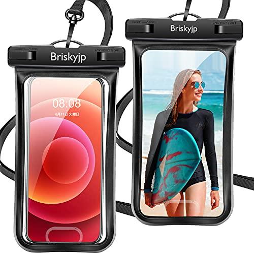 【2021最新版&2枚セット】 防水ケース スマホ用 指紋認証/Face ID認証対応 IPX8認定 完全保護 防水携帯ケース 完全防水 タッチ可 顔認証 気密性抜群 完全防水 iPhone 12 Pro/ iPhone 11 Pro Max/iPhone11/iPhoneXR/X/8/8plus/Android スマートフォン6.5インチ以下全機種対応 ネックストラップ&アームバンド付き 水中撮影 お風呂 海水浴 水泳など適用 (黒/黒)