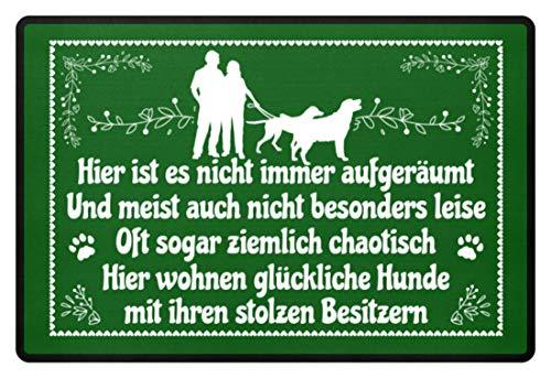 Shirtee Hier wohnen 2 perros felices con sus orgullosos propietarios perro padres regalo – Felpudo Kelly Green 60x40cm