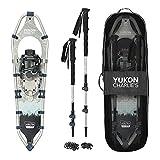 Yukon Charlie's National Park V Frame Aluminum Snowshoe Kit, 9'x30' (Snowshoes, Bag, Poles, and Baskets), Black