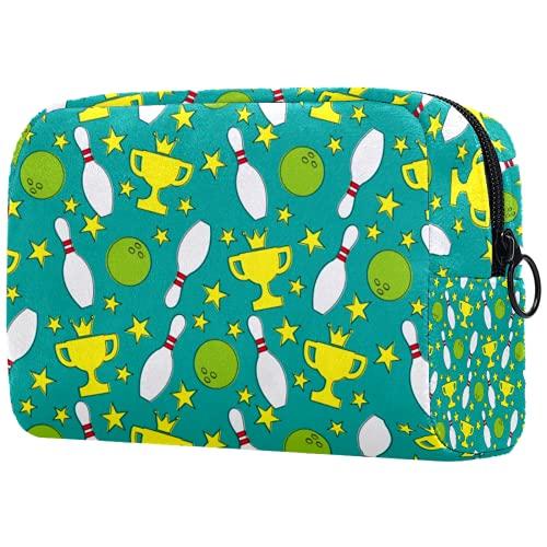KAMEARI Bolsa cosmética Bolera bolas patrón grande cosmético bolsa organizador multifuncional bolsas de viaje