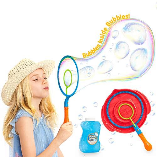 KreativeKraft Pomperos para Niños, Kit para Crear Pompas de Jabon Enormes, Incluye Bote Liquido Pompas de Jabon, Juegos de Agua para Jardin, Regalos Originales para Niños 3+
