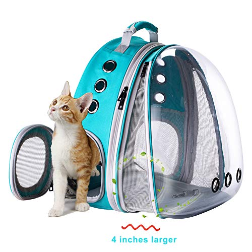 Front Expandable Large Cat Carrier Backpack, Space Capsule Pet Carrier Backpack for Fat Cats and Small Dog up to 20 lbs, Dog Carrier Backpack for Traveling and Hiking (Green, Expandable Front)