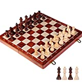 Tablero de Damas Conjunto de ajedrez de Madera Reina de Alto Grado Juego de ajedrez King Altura 80mm Piezas de ajedrez Plegable 39 * 39 cm Tablero de ajedrez con ajedrez de Madera