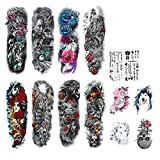 DaLin Extra Large Full Arm Temporary Tattoos and Half Arm Tattoo Sleeves for Men Women, 14 Sheets (Collection 6)