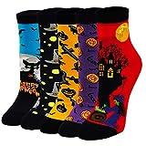 ZAKASA 5 pares de calcetines divertidos para mujer, suaves y cálidos para Halloween, Navidad