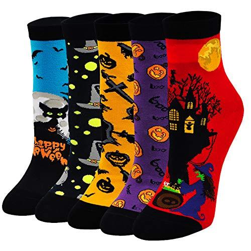 ZAKASA Damen Socken Lustige Katze Charakter Sneaker Socken Frauen Bunte Mini Crew Socken Winter Frühling Weihnachtssocken EU 35-41 5 Paare