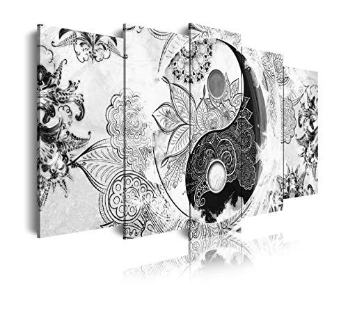 DekoArte 519 - Cuadros Modernos Impresión de Imagen Artística Digitalizada | Lienzo Decorativo para Salón o Dormitorio | Estilo Ying Yang Abstractos Zen Colores Blanco Negro | 5 Piezas 200x100cm XXL