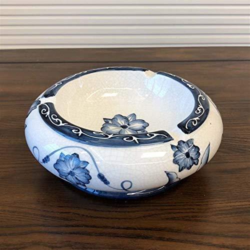Manyao Nuevos Chinos Adornos artesanales cenicero de cerámica salón de café decoración Sencilla Tabla cenicero Pintado a Mano Americana para la decoración de la Oficina en casa.