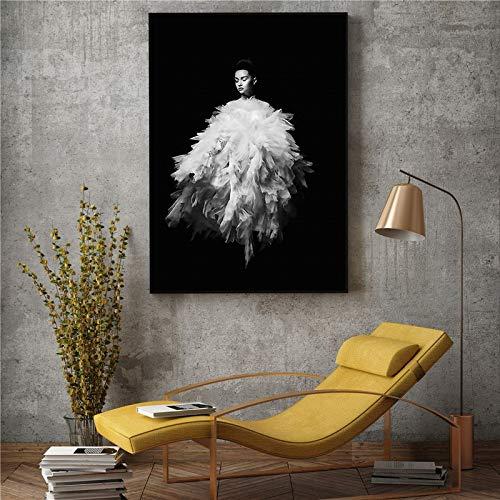 UIOLK Lienzo artístico de Moda Creativa impresión HD póster decoración nórdica Belleza en Blanco y Negro Lienzo Pintura habitación Regalo del Día de San Valentín