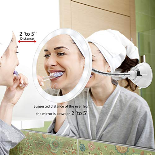 Ursulan 5X Magnifying Makeup Mirror Adjustable Flexible Gooseneck LED Light Bathroom Vanity Mirror with Glue Pad Suction Cup 360 Degree Swivel Perfect for Wall Mounted