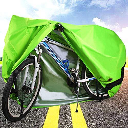 ODSPTER Fahrradabdeckung für 2 fahrräder wasserdichte 210D Oxford-Gewebe Atmungsaktives Draussen Fahrrad Schutzhülle mit Schlossösen Schutz, für Mountainbike und Rennrad 29 Zoll (Grün) - 5