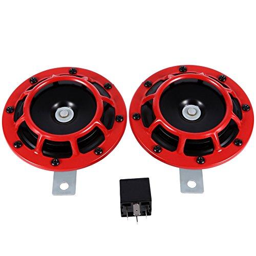 YOPOTIKA 12V Auto Kühlergrillhalterung Elektrische Druckton Horn Super Ton Laut Kompakte Elektrische Hupe Rot
