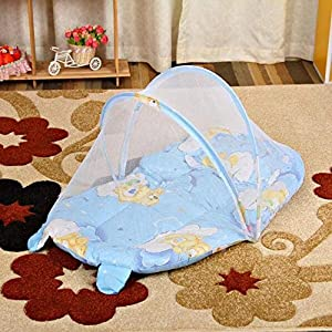 XWCPDM Baby Crib 0-1 Year Infant Portable Folding Baby mosquito net Cots Foldable Crib With Net and pillow Travel Bed Baby Cradle  119 Bionic baby crib  Color Blue
