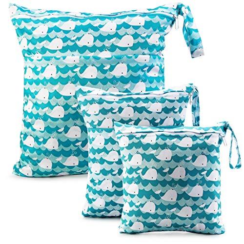 Wet Dry Cloth Windeltaschen - CeeKii 3er Pack Waschbare Reisetaschen, wasserdichte Wet Bag, Baby Reusable Beach Pool Gym Bag mit Reißverschlusstasche und Druckknopfgriff