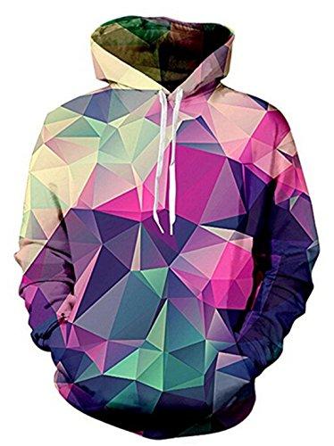 uideazone Uniesx 3D-Druck Hoodies Fleece-Pullover Lustige Kapuzenpullover Sweatshirt für Herren Damen mit Großen Taschen …, Daimond, XL