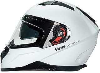 989 Moto-V Full Face Matte White Motorcycle Helmet with Pinlock Anti-fog and internal eye shade DOT - X-Large