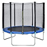 FDW 10FT Trampoline with Enclosure Net Ladder Outdoor Fitness Trampoline PVC Spring Cover Padding for Children and Adults