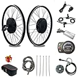 RICETOO 48V 1500W 20'/24'/26'/27.5'/28'/700C Front Wheel Electric Bicycle Conversion Motor Kit with Brushless Gear Hub Motor with KT-LED900S Display. (48V 26 inch)